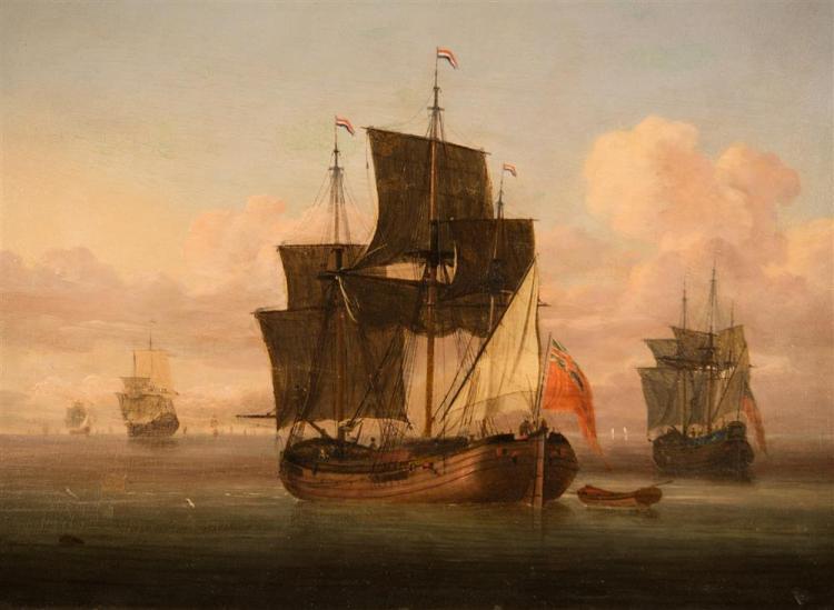ATTRIBUTED TO WILLEM VAN DE VELDE II, (Dutch, 1633-1707), A CAPTURED DUTCH FLUYT IN A CALM, oil on panel, 12 x 16 1/2 in. (22 x 26 1...