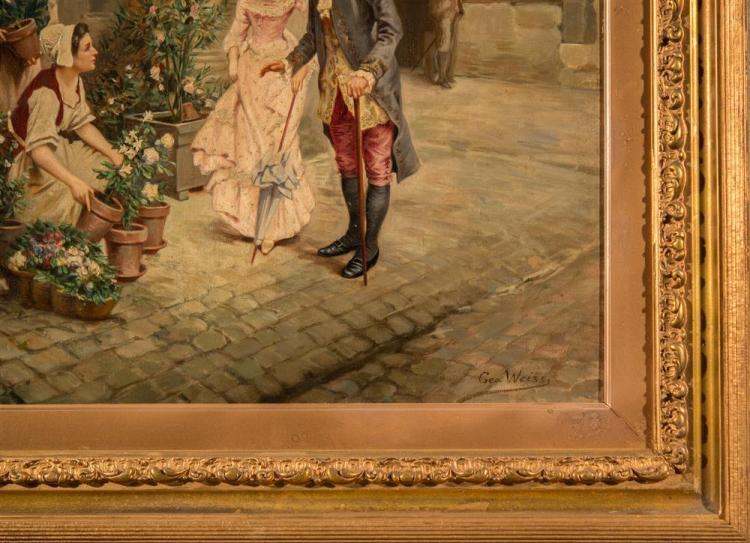 EMILE GEORGES WEISS, (French, 1861-1921), THE FLOWER SELLER, oil on board, 28 1/2 x 22 1/2 in. (35 1/2 x 30 in.)