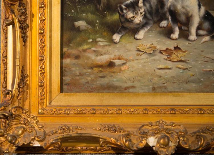 JOHANN HARTUNG (called Carl Reichert), (German/Austrian, 1836-1918), FOUR CURIOUS KITTENS, oil on panel, 15 1/2 x 12 1/4 in. (22 1/2...