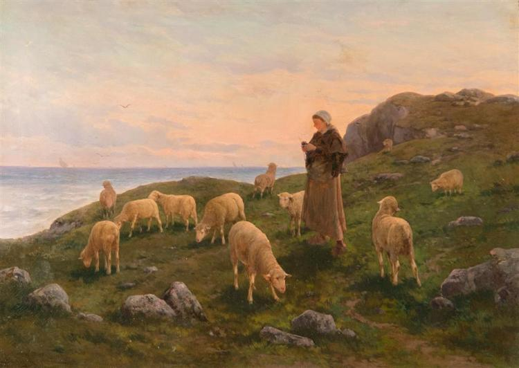 NOE BORDIGNON, (Italian, 1841-1920), SHEPHERDESS WITH HER SHEEP, oil on canvas, 26 x 36 in. (21 1/2 x 42 in.)