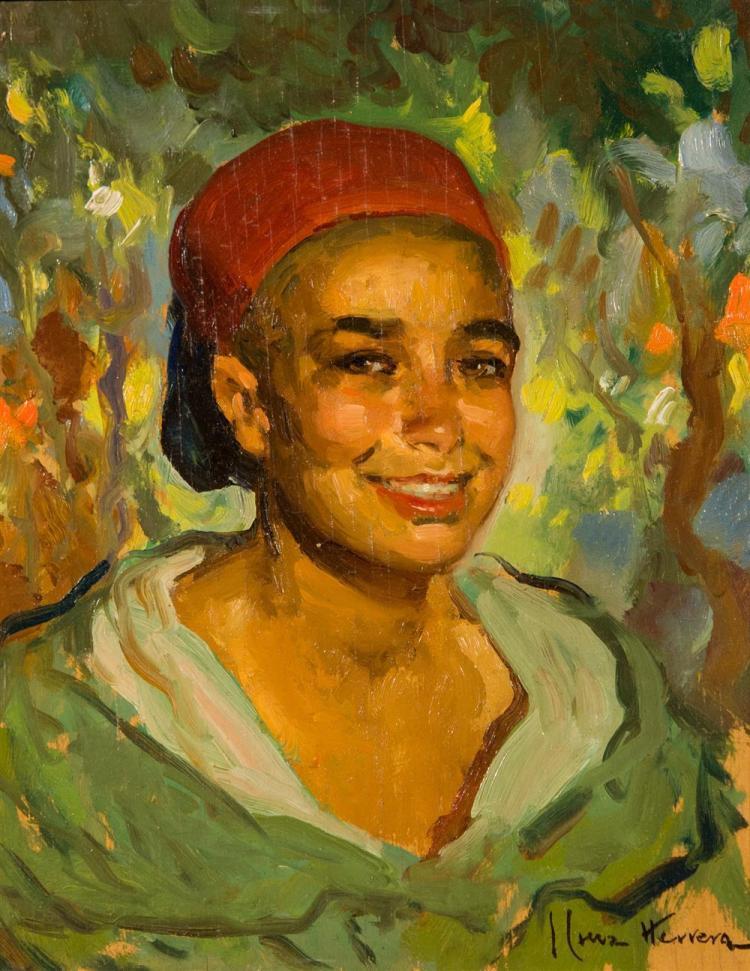 JOSE HERRERILLA CRUZ HERRERA, (Spanish, 1890-1972), MOROCCAN BOY WEARING A RED FEZ, 1929, oil on panel, 16 x 13 in. (19 1/4 x 16 in....
