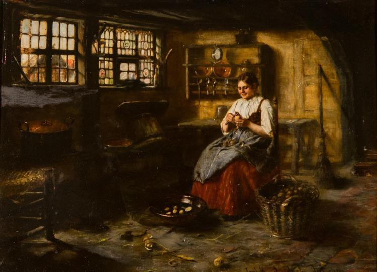 CARL KRICHELDORF, (German, 1862-1934), INTERIOR WITH A WOMAN PEELING POTATOES, oil on canvas, 22 1/2 x 29 1/2 in. (27 3/4 x 35 3/4 i...
