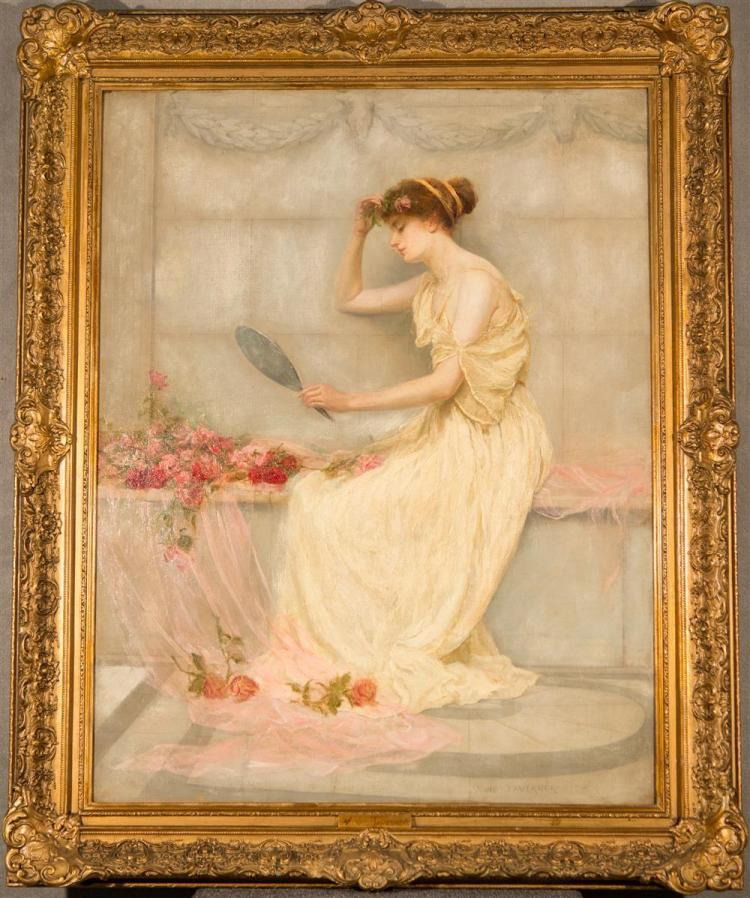 ANNIE TAVERNER, (English, fl. 1897-1914), PORTRAIT OF A WOMAN WITH A MIRROR, 1898, oil on canvas, 36 x 28 in. (43 1/2 x 35 1/2 in.)