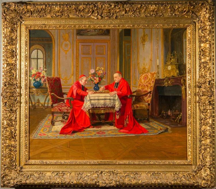 VICTOR MARAIS-MILTON, (French, 1872-1948), TWO CARDINALS PLAYING CHECKERS, oil on canvas, 21 1/2 x 26 in. (29 1/4 x 33 in.)