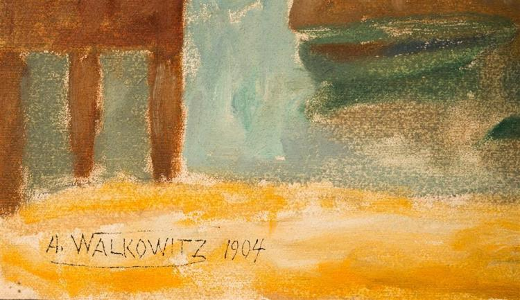 ABRAHAM WALKOWITZ, (American, 1878-1965), FISHING PORT #2, 1904, oil and crayon, 12 1/2 x 20 1/4 in.