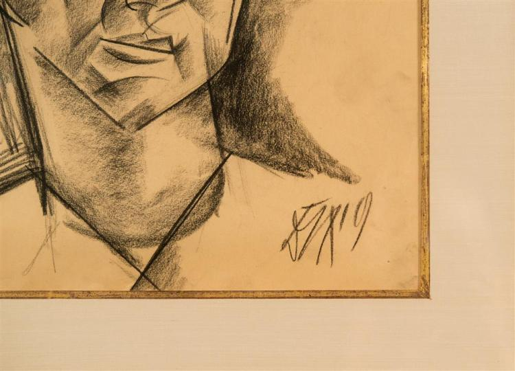 OTTO DIX, (German, 1891-1969), WOMAN'S HEAD, 1919, charcoal on paper, sight: 15 1/2 x 12 1/4 in. (25 1/2 x 22 1/4 in.)