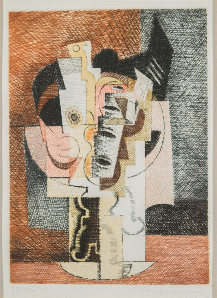 LOUIS MARCOUSSIS, (Polish/French, 1878-1941), LA TABLE, 1930, etching in colors, plate: 9 1/2 x 7 in., sight: 10 x 7 1/2 in., frame:...