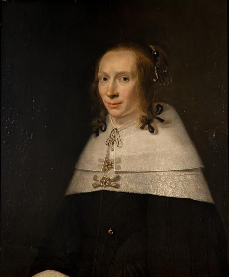JACOB WILLEMSZ DELFF, THE YOUNGER, (Dutch, 1619-1661), PORTRAIT OF A LADY, 1654, oil on oak panel, 29 x 24 1/2 in. (36 x 31 1/2 in.)