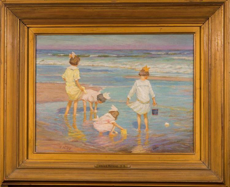 EDWARD HENRY POTTHAST, (American, 1857-1927), WADING, oil on board, 11 1/4 x 15 1/2 in. (18 1/2 x 22 1/2 in.)