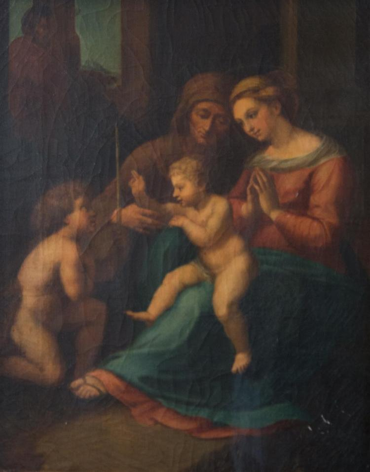 AFTER ANTONIO DA CORREGGIO, (Italian, 1489-1534), THE MADONNA AND CHILD WITH SAINT JOHN THE BAPTIST AND SAINT ANNE, oil on canvas, 1...