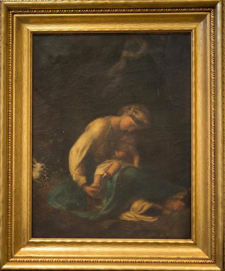 AFTER ANTONIO DA CORREGGIO, (Italian, 1489-1534), LA ZINGARELLA (VIRGIN AND CHILD), oil on canvas, 19 1/4 x 15 1/4 in. (24 3/4 x 20...