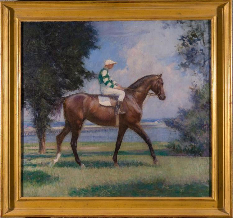 EDMUND CHARLES TARBELL, (American, 1862-1938), THE JOCKEY, oil on canvas, 25 x 27 in. (30 x 32 in.)