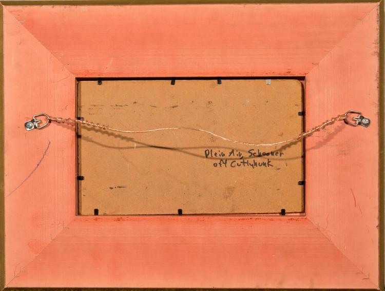 JOSEPH MCGURL, (American, b. 1958), SCHOONER OFF CUTTYHUNK, oil on panel, 6 x 10 in. (13 x 17 in.)