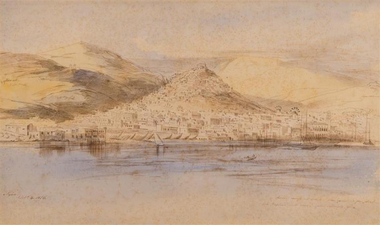 EDWARD LEAR, (English, 1812-1888), A VIEW OF SYRA FROM THE SEA, 1856, watercolor and ink on paper, sight: 11 1/2 x 19 1/4 in. (20 1/...