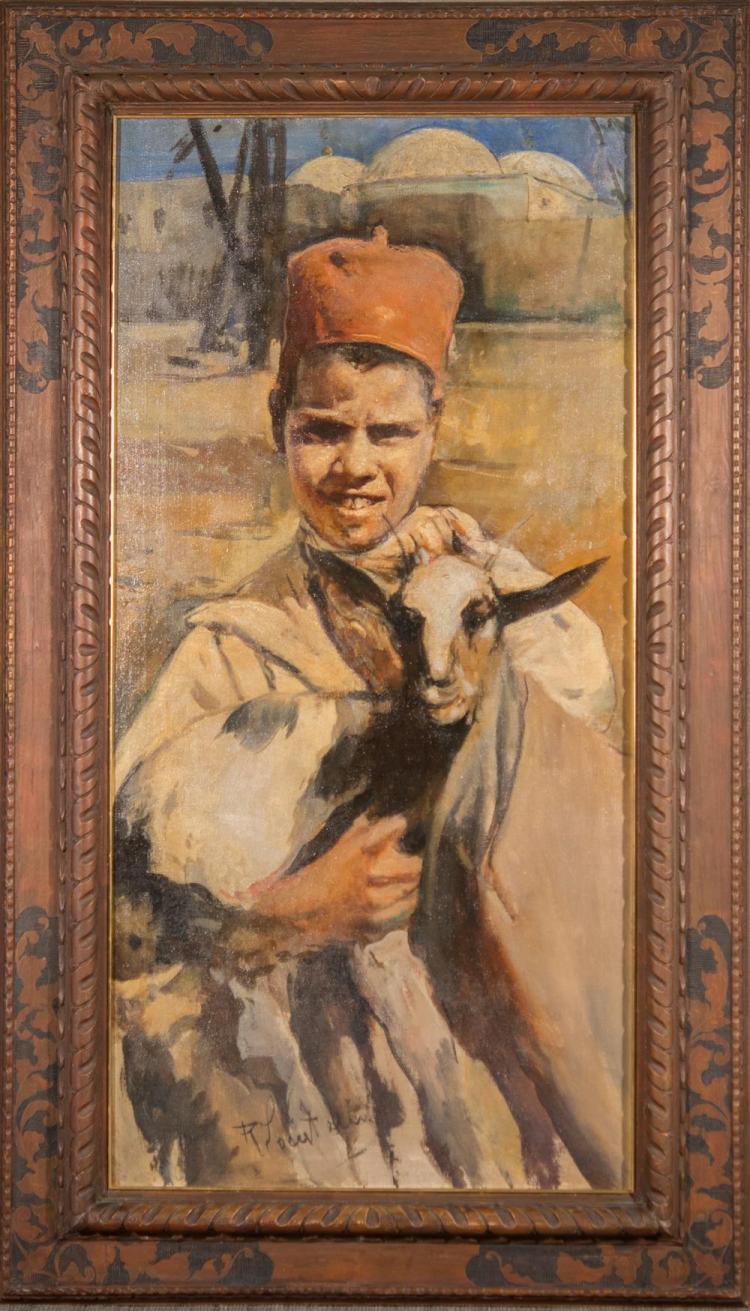 ROMUALDO FREDERICO LOCATELLI, (Italian, 1905-1943), BOY WITH A GOAT, ca. 1929, oil on canvas, 47 x 23 1/4 in. (57 1/4 x 33 1/8 in.)