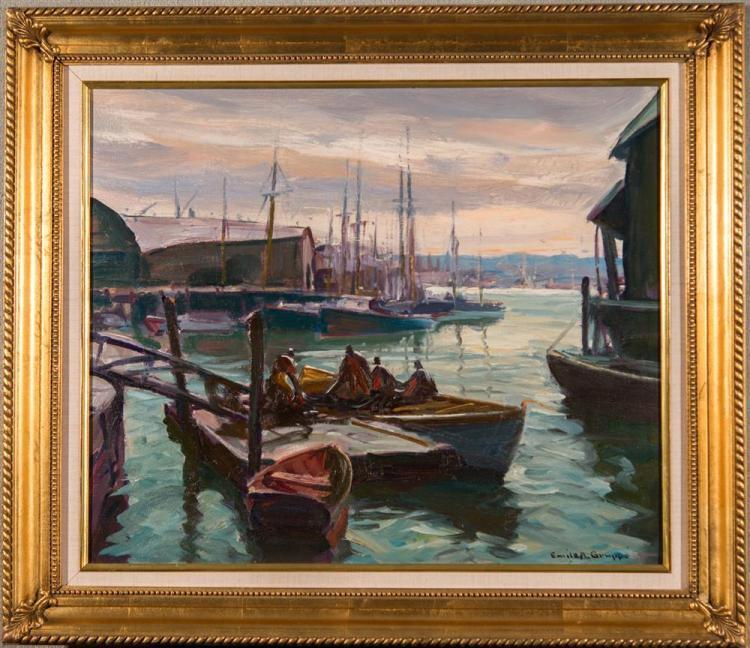 EMILE ALBERT GRUPPE, (American, 1896-1978), MORNING, GLOUCESTER HARBOR, oil on canvas, 20 x 24 in. (28 3/4 x 32 1/2 in.