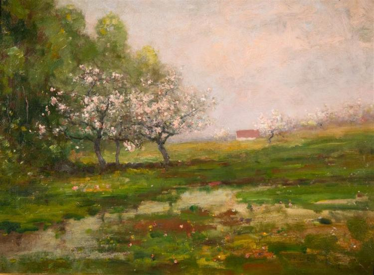 MAX WEYL, (American, 1837-1914), APPLE BLOSSOM TREES, oil on canvas, 17 x 23 in. (24 x 29 1/2 in.)