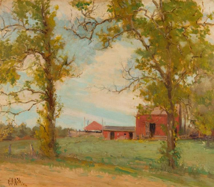 ERNEST DAVID ROTH, (American, 1879-1964), RED BARN, oil on canvas, 22 x 25 3/4 in. (32 x 35 1/8 in.)