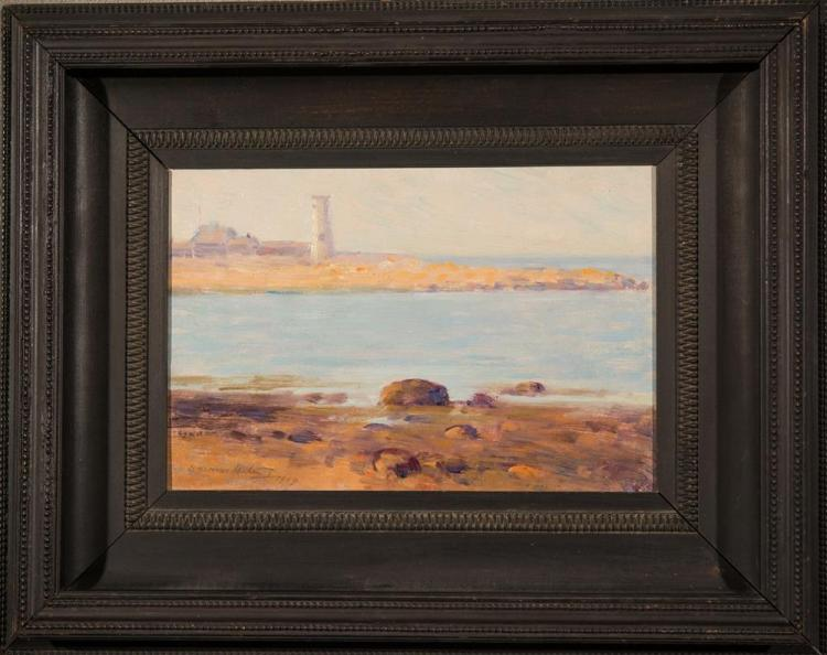 DAWSON DAWSON-WATSON, (American, 1864-1938), SCITUATE LIGHTHOUSE, 1907, oil on board, 8 x 12 in. (15 3/4 x 19 3/4 in.)