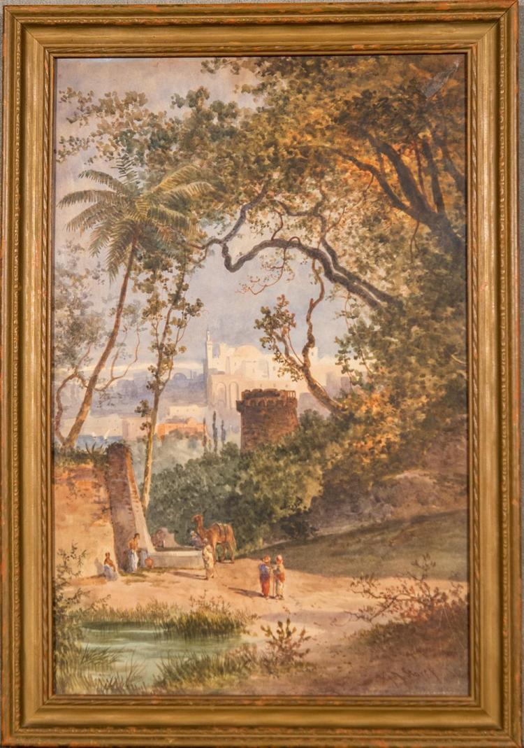 GEORGE ADOLPHUS STOREY, (English, 1834-1919), FIGURES AMONG THE RUINS, watercolor, sight: 19 1/4 x 12 1/2 in. (22 1/4 x 15 1/2 in.)