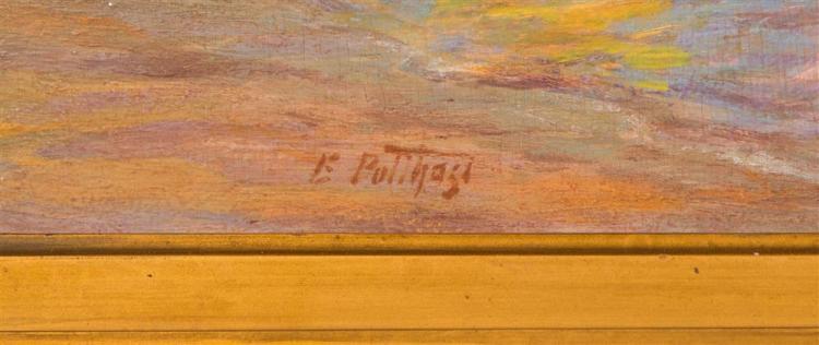 EDWARD HENRY POTTHAST, (American, 1857-1927), WADING, oil on board, 11 1/4 x 15 1/2 in. (18 1/2 x 22 1/2 in.)