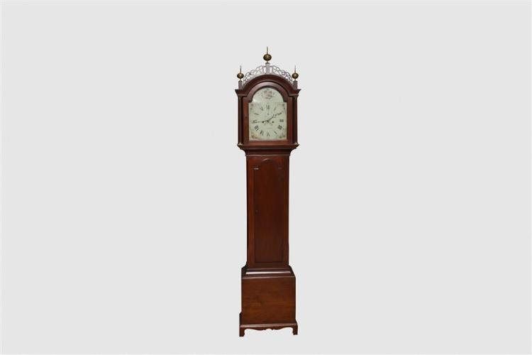 James Perrigo, Jr. Carved Cherry Tall Case Clock, Wrentham, MA, late 18th/early 19th century