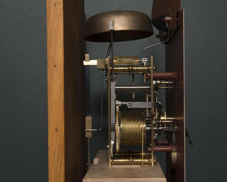 Robert Materne Federal Revival Mahogany Inlaid Rocking Ship Tall Case Clock, Bristol, RI