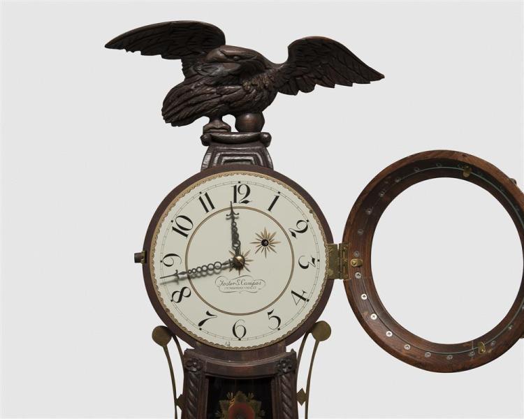 Foster Campos Carved Mahogany Girondole Wall Clock, Pembroke, MA
