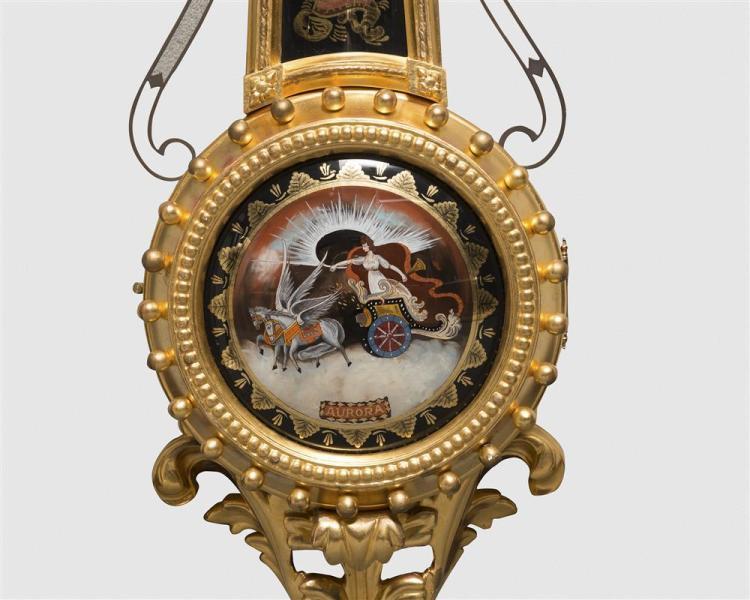 Henri & Herschl Mahogany and Carved Giltwood Girondole Wall Clock, Westwood, MA