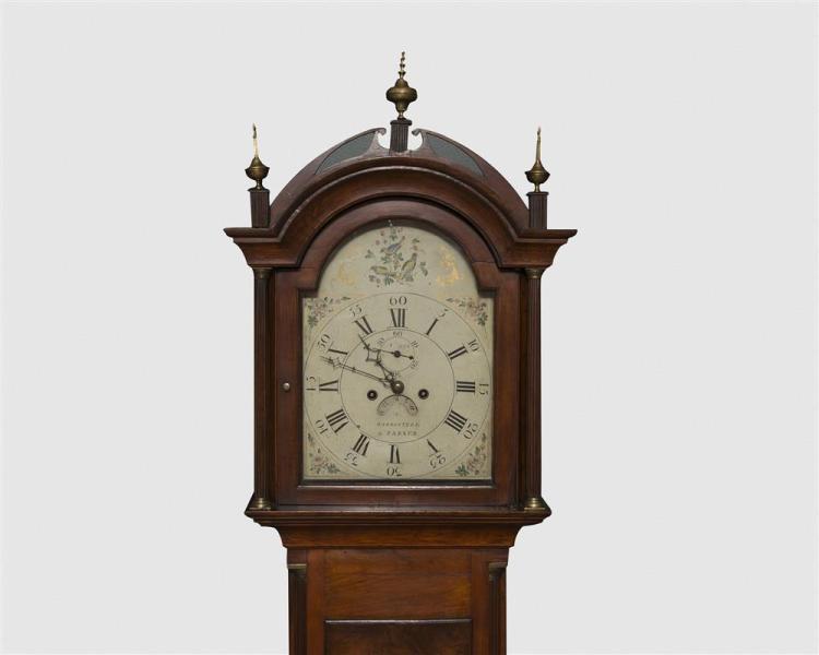 Gardner Parker Federal Cherry Tall Case Clock, Westborough, MA.