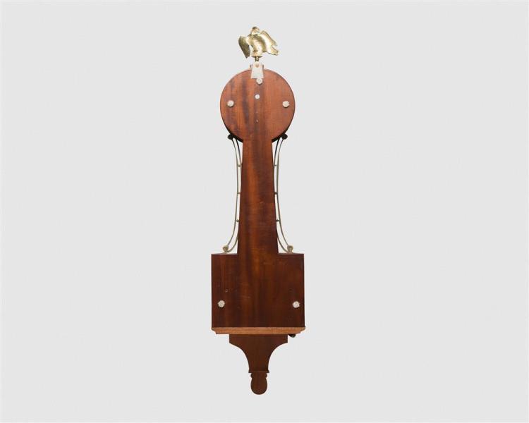 Foster Compos Mahogany Inlaid Banjo Clock, Pembroke, Mass.