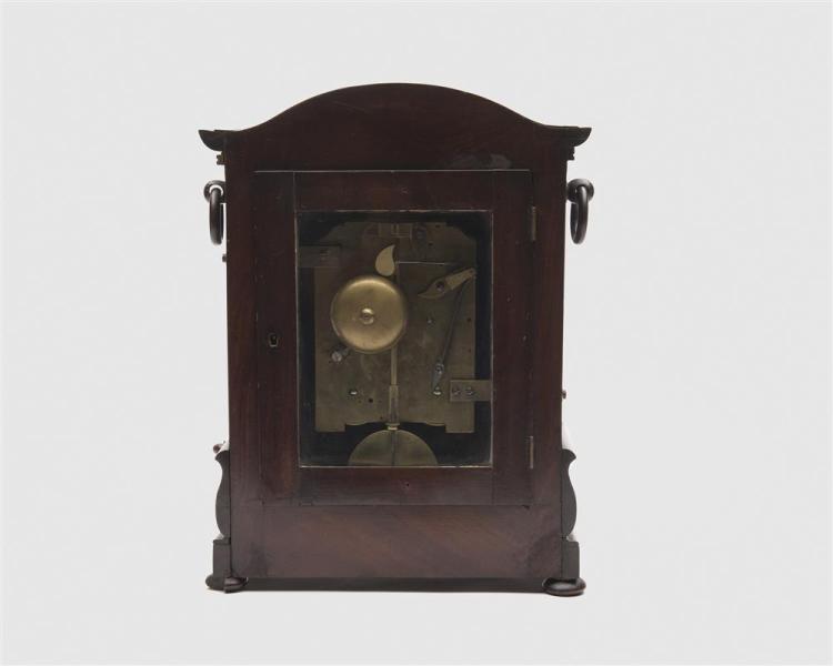 English Victorian Carved Mahogany Table Clock