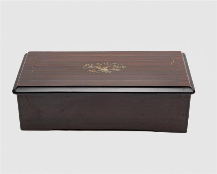 Swiss Rosewood Inlaid Eight Song 8 1/2 inch Cylinder Music Box