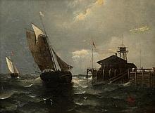 AUGUST SIEGEN, (German, 19th century), SHIPS IN PORT, oil on panel;, 12 1/2 x 16 1/2 in. (19 1/2 x 23 1/2 in.)