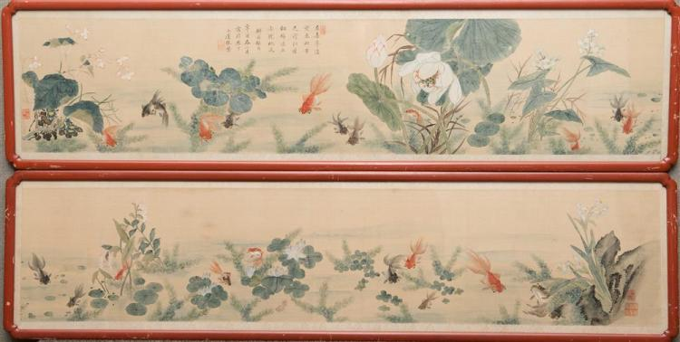 PAIR OF FRAMED CHINESE SCROLL PAINTINGS ON SILK
