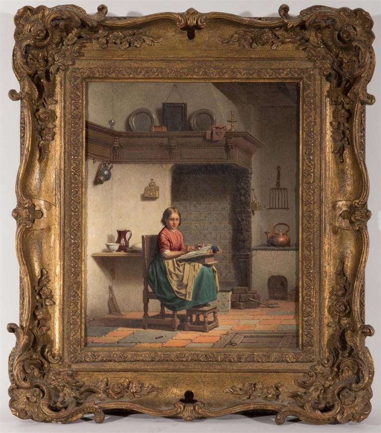 CHARLES JOSEPH GRIPS, (Belgian, 1825-1920), INTERIOR SCENE WITH LACEMAKER, oil on panel, 1862, 12 x 10 in., frame: 18 x 16 in.