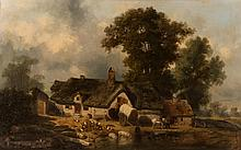 LOUIS ADOLPHE HERVIER, (France, 1818-1879), FARMYARD SCENE, oil on canvas, 1863, 25 x 32 in., frame: 33 x 45 in.