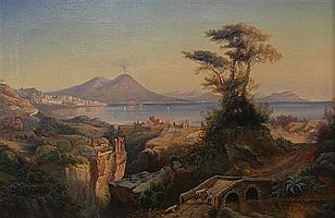 FREDERICK W. BILLING, (German/American, 1835-1914), MOUNT VESUVIUS AND THE BAY OF NAPLES, oil on canvas;, 16 x 24 inches