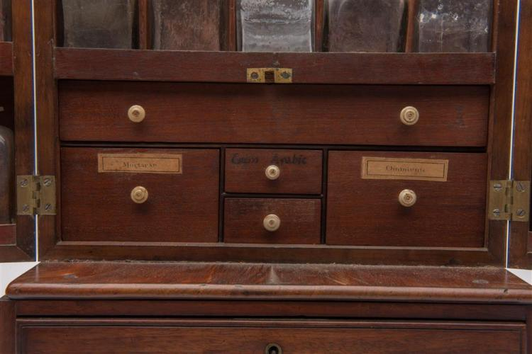 LATE GEORGIAN MAHOGANY TRAVELING APOTHECARY CABINET, with various bottles and accessories