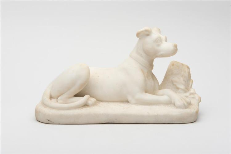 MARBLE SCULPTURE OF A RECUMBENT DOG, late 19th century