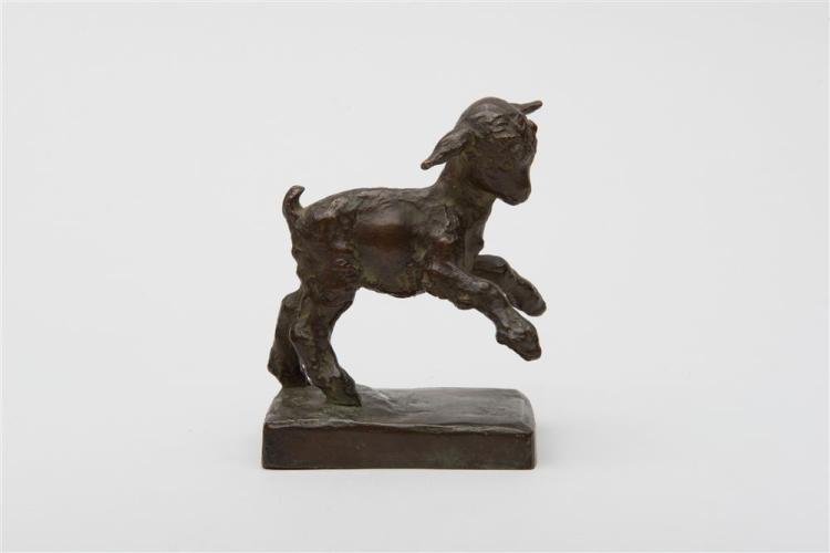 EDITH BARRETTO PARSONS, (American, 1878-1956), PLAYFUL LAMB, bronze, length: 3 1/4 in., height: 4 1/2 in.