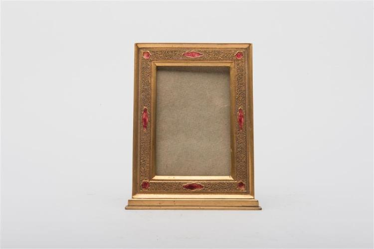 LOUIS C. TIFFANY FURNACES, INC. GILT BRONZE AND ENAMEL PICTURE FRAME