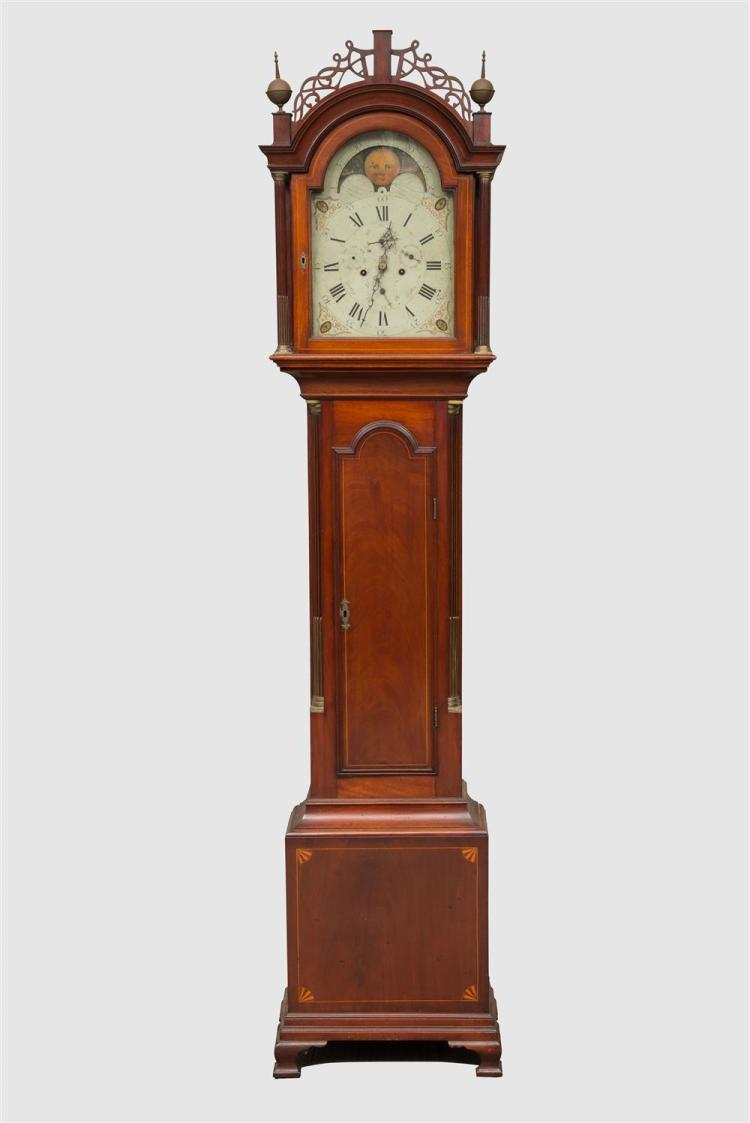 THE THOMAS JEFFERSON BURT FEDERAL INLAID AND FIGURED MAHOGANY TALL CASE CLOCK, works by Joseph Gooding, Dighton, Massachusetts, ca. 1815