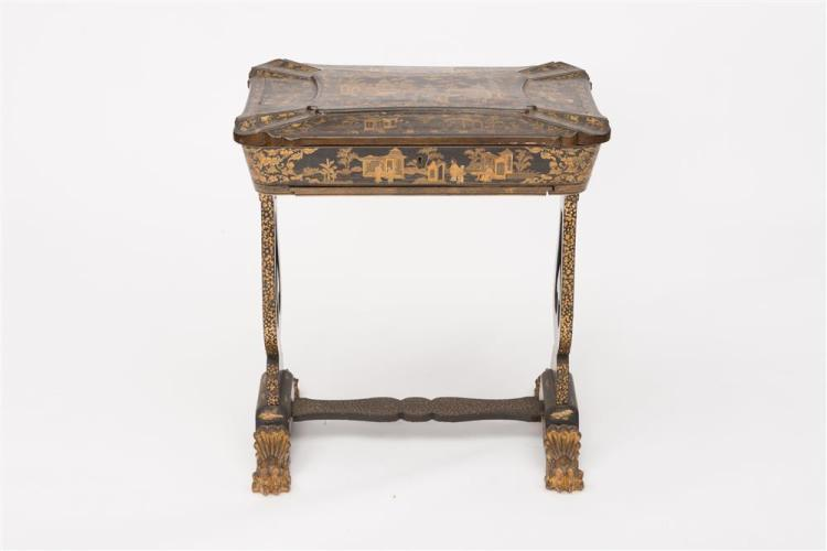 CHINA TRADE BLACK LACQUER SEWING TABLE, 19th century, with fitted interior