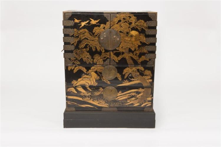 JAPANESE BRASS MOUNTED BLACK LACQUER CABINET, early 19th century