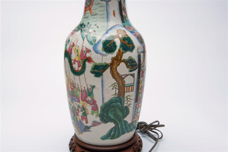 CHINESE FAMILLE ROSE VASE, mounted as a lamp