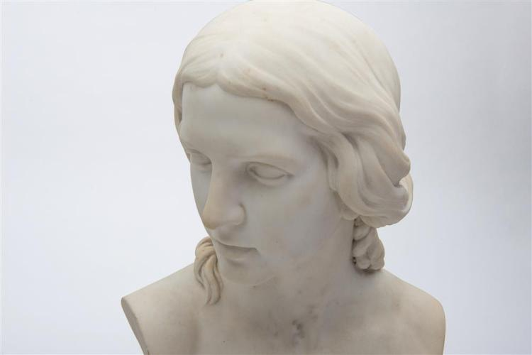 HENRY KIRKE BROWN, (American, 1814-1886), BUST OF A WOMAN, marble, height, including base: 21 in.