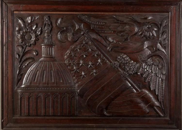 AMERICAN PATRIOTIC CARVED MAHOGANY PANEL, 19th century