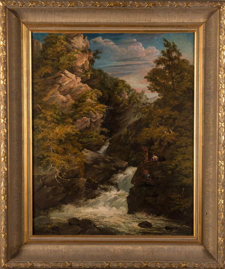 AMERICAN SCHOOL , (19th century), WATERFALL, oil on canvas, 25 1/2 x 20 3/8 in., frame: 32 3/8 x 27 1/8 in.