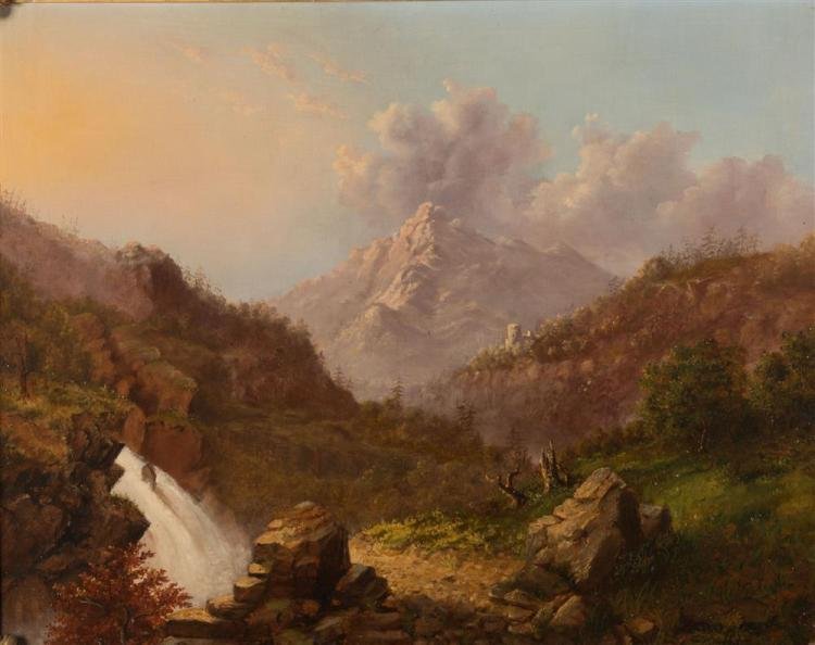MANNER OF THOMAS COLE, (American, 19th century), MOUNTAIN VIEW, oil on canvas, 25 x 30 in., frame: 30 1/2 x 36 1/2 in.
